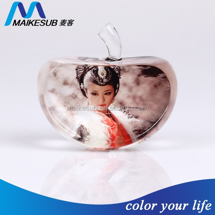 Sublimation crystal apple for photo