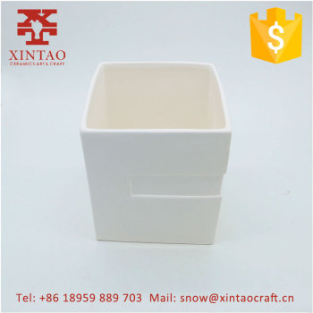 Wholesale White Square Glazed Ceramic Planters - Garden planter Square Pots Set of 3