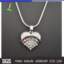 A51105 Yiwu Huilin Jewelry BEST Gift peach MOM heart pendant long clain necklace for mother