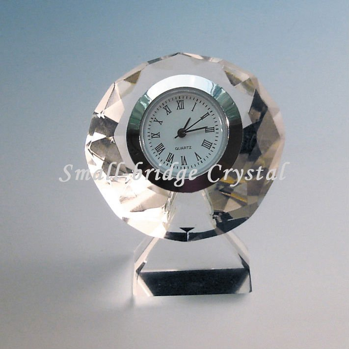 Promotion diamond crystal clock for wedding gifts