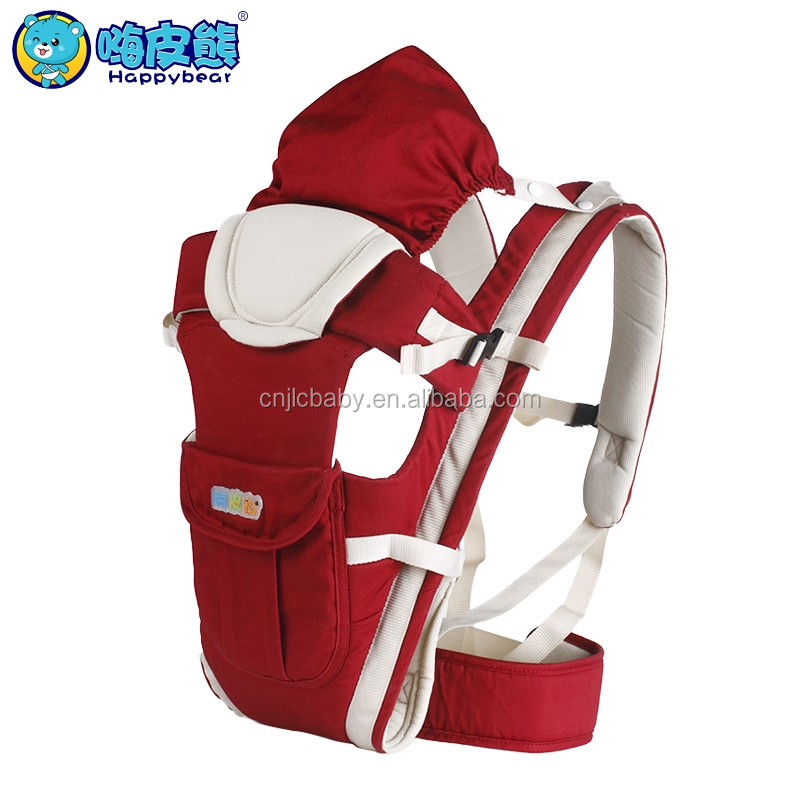 Red cotton kangaroo handle baby backpack carrier