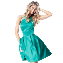 2018 Sexy Ladies Preferred Backless Green Bridesmaid Party Evening Dress