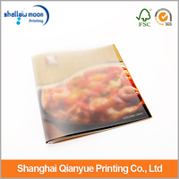 High quality hardcover book/ cook book/ menu book printing with clear cover