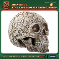 Polyresin beautiful carving flower cheap wholesale halloween skull