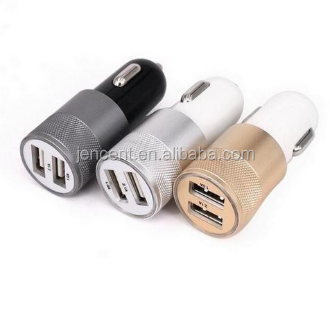 2.1A 1.0A Aluminium metal shell 2 ports dual USB Universal Car Charger Quick Charge For iPhone iPad iPod Android smartphone PDA