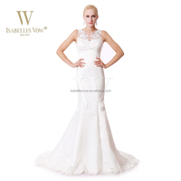 Made in China jewel neck lace appliqued satin mermaid wedding dresses online sale