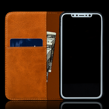 Vintage Stand Wallet Genuine Leather Phone Case For iPhone X