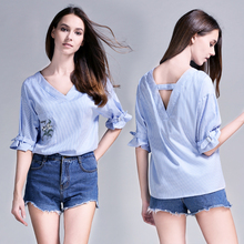 Sexy New Fashion Summer V Neck Chiffon Flower Embroidery Backless Loose Fit Woman Blouse