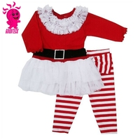 2015 New Children Christmas Clothing Set,Baby Girls Long-sleeved Dress Suit(Dress+Pants), Christmas kids Outfits