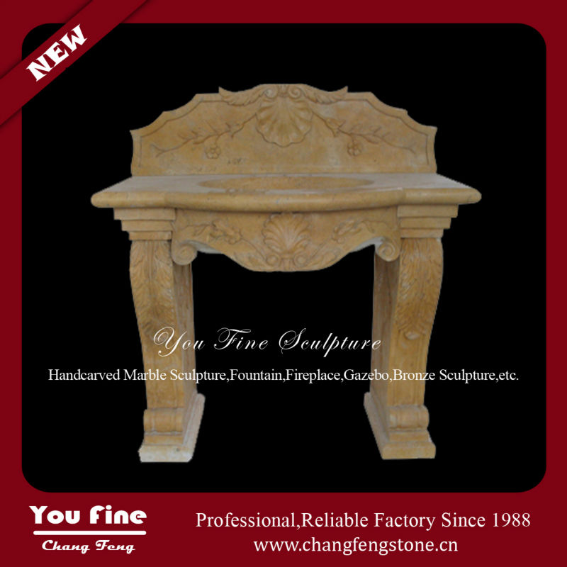 Pure hand carved yellow marble stone sinks