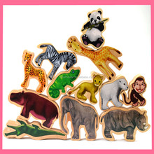 wholesale wooden animals balance stacking blocks