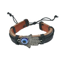 Cheap bracelet blue evil eye ball with hamsa hand pendent with leather bracelet