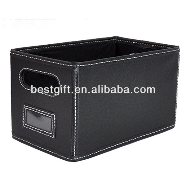 Rectangular faux leather gift baskets tote leather basket
