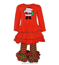 red and green xmas santa baby new year outfit girls wholeslae boutique clothing