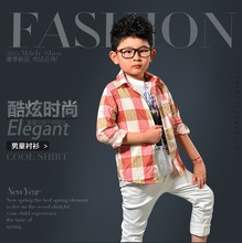 kids clothes boy's check T-shirt in apparel stock wholesale