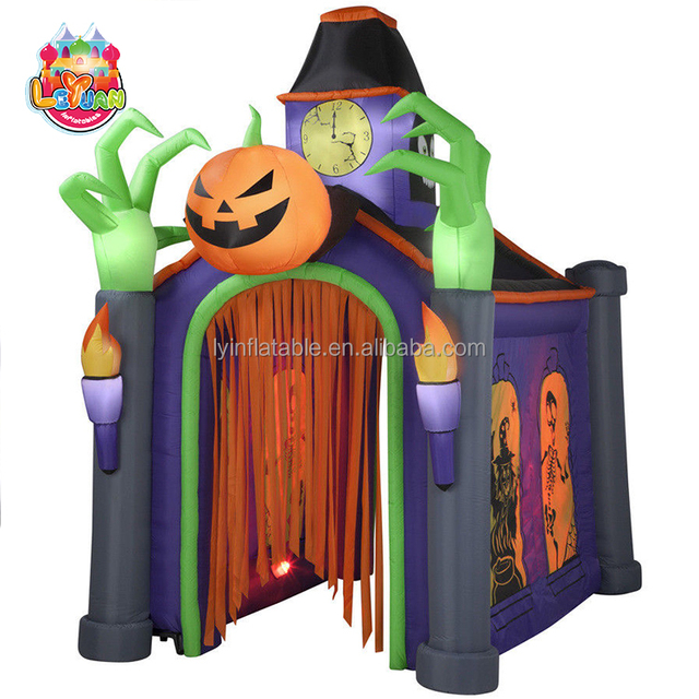 outdoor festival decoration airblown halloween lighted musical inflatable haunted house