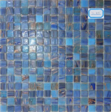 Good pricing Blue glass mosaic with goldline for wall, ceiling and swimming pool tile TC878