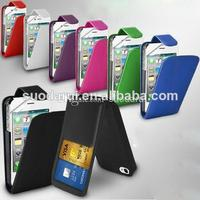 In stock Mix colors PU Leather Wallet Leather Flip Case for iPhone 4S