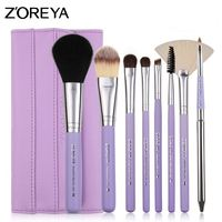 Hot selling superior quality facial cosmetic short wood handle makeup brush set with case