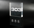 Latest Modern Crystal Acrylic and Stainless Steel Touch Doorplate with cool white LED room number
