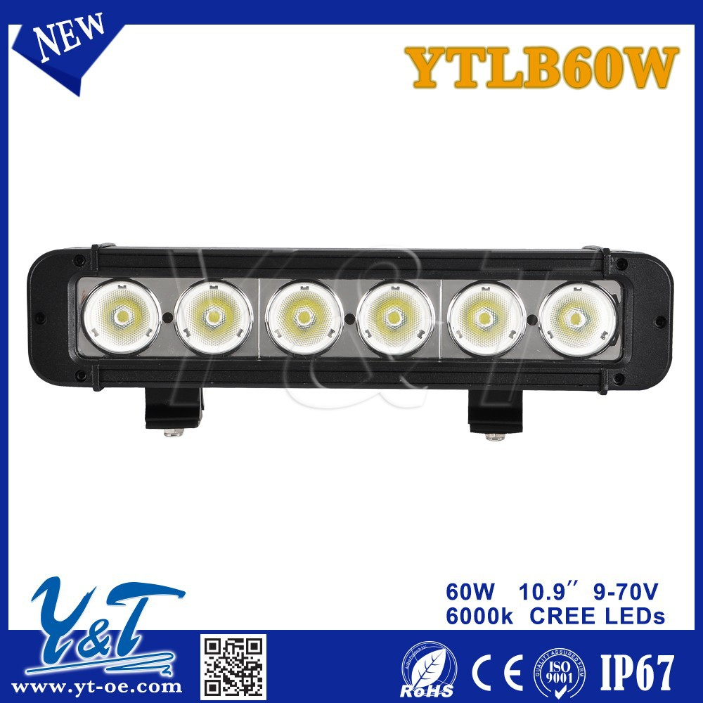 "Y&T1 Row 10.9"" 60W 9-70V LED Light Bars, offroad ATV UTV 4x4 aut led driving light bar, super quality4 inch led light bar"