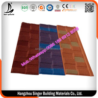 colourful stone-coated metal roofing tiles