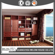 customized solid wood bookcase wall units with drawer and door