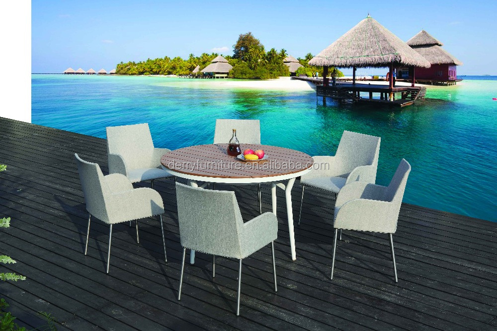 Unique design fabric 7pcs dining sets outdoor furniture