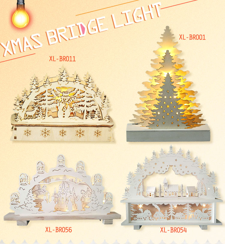 Hot sale polywood or MDF led lighting xmas lights and decorations