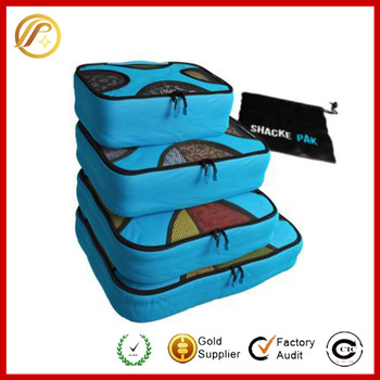 2016 new products cheap travel packing cubes set 4 pieces with a shoe bag