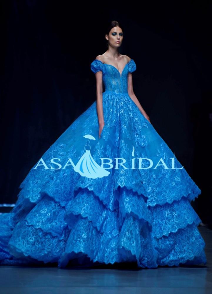 Vintage Ball Gown Off Shoulder Bridal Gowns Cinderella Royal Blue