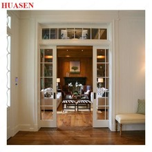 Sliding french interior wooden glass door