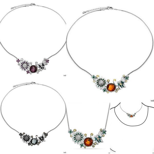 Fashion Yiwu Jewellery Colored Butterfly Necklace Multi Crystal Flower Necklace