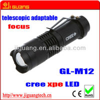 cree XPE LED aluminum telescopic adaptable portable flashlight with belt clip