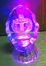 LED Base Glass Crystal Pray Hands with Jesus Cross