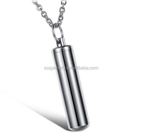 Smooth Stainless Steel Cylinder Pet Pendant Jewelry Mens Necklace