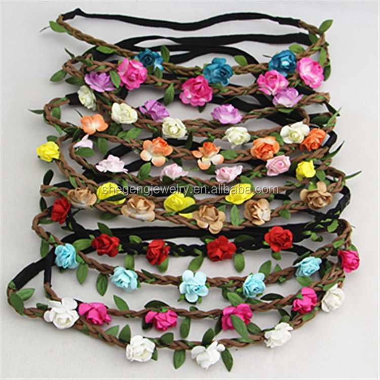 Women Girl Boho Summer Garland Wedding Mini Paper Flower Headband