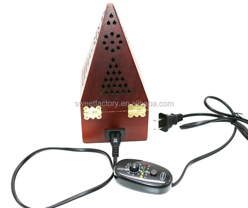 Pyramid design electric wood incense burner