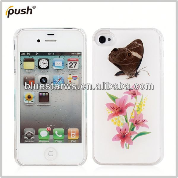 PC Material Flower & Butterfly Shell Cover Case For iPhone4 pc for iphone4 case