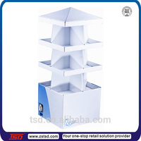 TSD-C562 4 side folding display shelves,360 degree cardboard standup corrugated displays