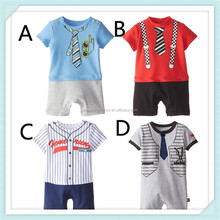 New Baby Boy Clothes Short Sleeve Printed Pure Cotton Infant Rompers Gentlemen Tie Party Baby Dress