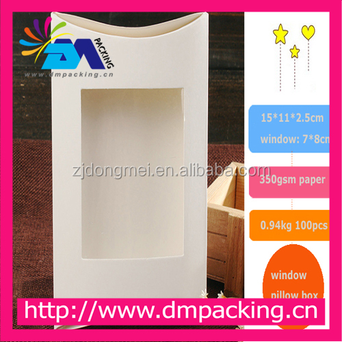 Make White paper see PVC window pillow box Jewelry /Gift Packaging/ Ring/Earing/Necklace packaging boxes