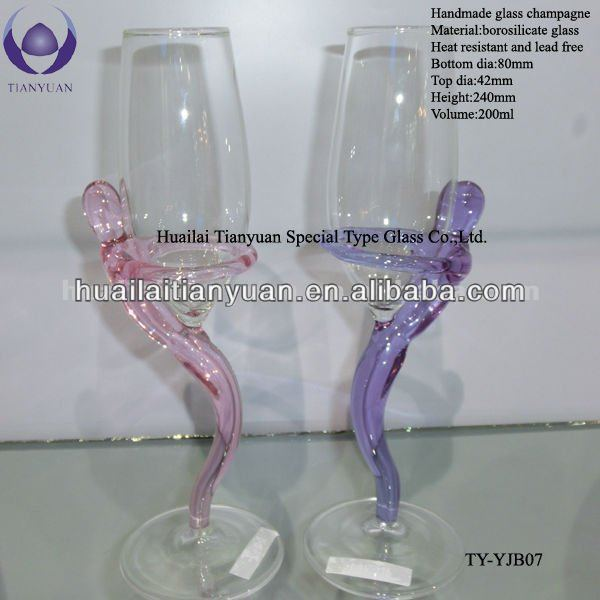 exotic 200ml crystal hand blownchampagne thick glass goblets