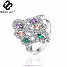 925 sun silver ring color stone silver rings
