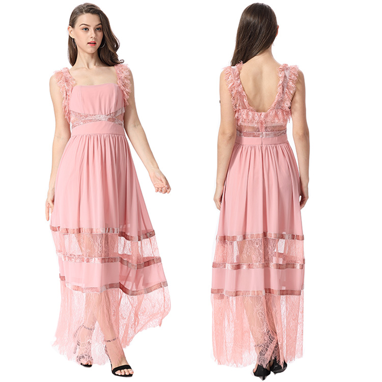 Sexy Women Lace Net Backless Party Formal Evening Gowns Long Silk Chiffon One Piece Pink Wedding Bridesmaid Dress