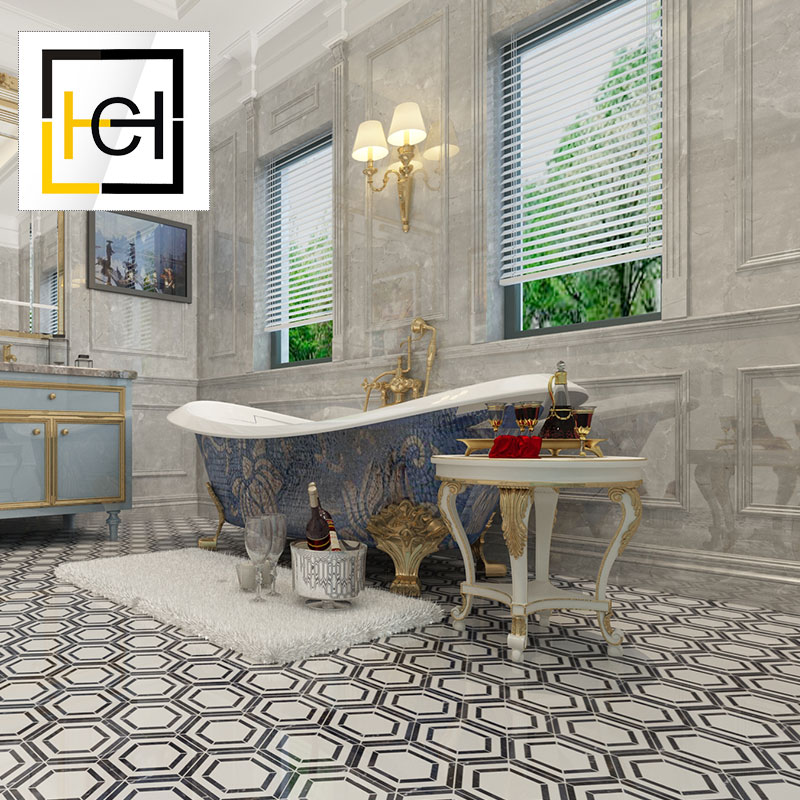 High Quality Bathroom Floor Nature Hexagon Black And White Marble Mosaic high quality floor <strong>tile</strong>