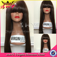 2016 New Fashion silk straight 100% virgin Peruvian grey hair lace wig