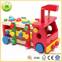 Hot Sale Kid Intelligent DIY Assembling Toys Wooden Trucks