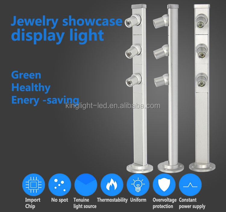 High brightness 60degree daylight 3000k cool white color temperature 3w 3*1w led showcase display light for cabinet