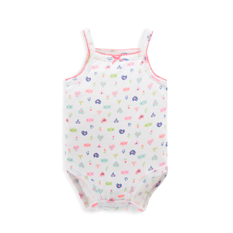 Fashional Strappy Newborn Infant Summer Sleeveless Snap Crotch Baby Bodysuit